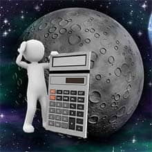 space, moon, calculate